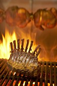 Rack of lamb on barbecue rack