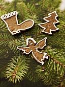 Gingerbread tree ornaments on Christmas tree