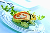 Pancake filled with salmon and soft cheese