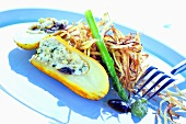 Potato stuffed with cottage cheese and dried fruit