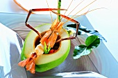 Spicy prawn soup in hollowed-out avocado (Thailand)