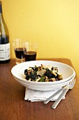 Pasta with broccolini, olives and walnuts