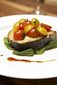 Fried sablefish with tomatoes