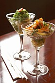 Rice noodle salad in two glasses