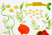 Picture made with pasta and dill (Aquarium)