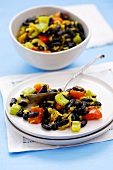 Black beans with rice and vegetables, Venezuela