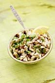 Mushroom salad with coriander, lemon juice, olive oil, chilli