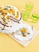 Passion fruit and mango cake with vanilla cream