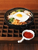 Bibimbap (Rice with vegetables, meat and egg, Korea)