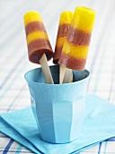 Fruity ice lollies in a beaker