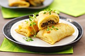 Paszteciki (Pancakes with mushroom and herb filling, Poland)