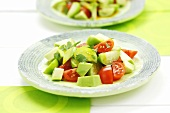 Tomatillo, avocado and tomato salad with coriander