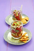 Salsa cruda (raw salsa) with tortilla chips