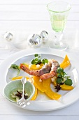Pumpkin with bacon-wrapped prawns