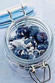 Sugared blueberries in preserving jar (Vaccinium corymbosum)