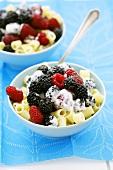 Pasta with fresh berries and cream