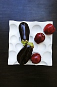 Aubergines and apples