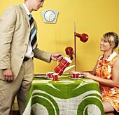 Young couple having coffee