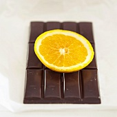 Chocolate with slice of orange