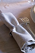 Fabric napkin with napkin ring and silver fork