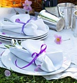 Tableware on picnic cloth