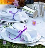 Tableware on picnic cloth