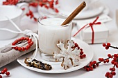 Hot milk with cinnamon and honey