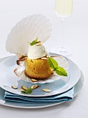 Small savarin with cream served in a shell
