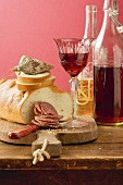 Hungarian salami, white bread and red wine