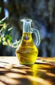 Olive oil in glass carafe