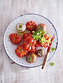 Oxheart tomatoes with basil