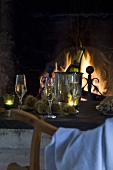 Glasses of sparkling wine & chestnuts in front of fire (autumn)