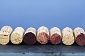 Wine corks in a row