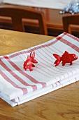 Tea towels with fish ornaments