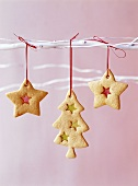 Christmas biscuits hanging up