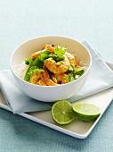 Prawn curry on rice