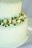 Wedding cake with marzipan flowers (detail)