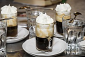 Several glasses of Einspänner (coffee with cream) on table