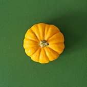 Orange pumpkin on green background (overhead view)