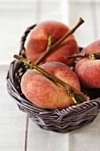 Vineyard peaches in basket