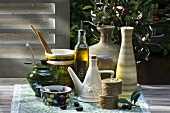 Olive oil and pickled olives