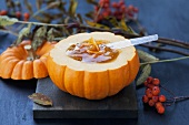 Pumpkin and ginger jam in hollowed-out pumpkin