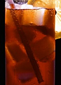 Campari Soda with ice cubes (close-up)
