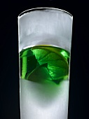 Chilled mint liqueur with lime