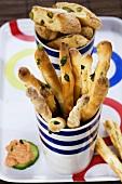 Grissini (bread sticks) and biscotti