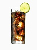 Glass of cola with ice cubes and lime (with condensation)