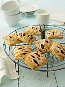 Cherry and quark lattice pastries (made with puff pastry)