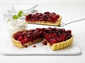 Raspberry tart, one piece on cake server
