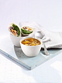 Vegetable soup and wraps (ready meals)