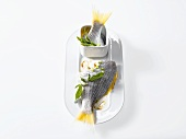 Sea bream with asparagus on molecular foam